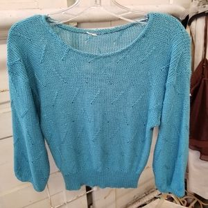 Vintage Aqua Light Teal 4 Petite Cropped Sweater